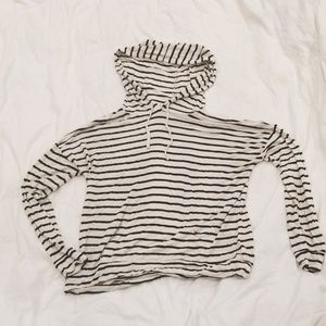 White and Black striped long sleeve hoodie